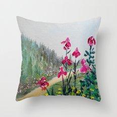 Magenta Plum Bearded Iris Waltz Throw Pillow