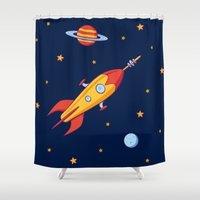spaceship Shower Curtains featuring Spaceship! by Doodle Dojo