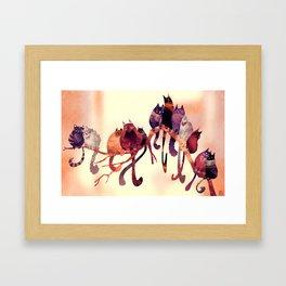 Cat-Birds on a Wire Framed Art Print