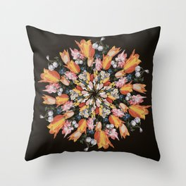 Flemish Floral Mandala 2 Throw Pillow