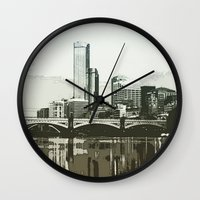 melbourne Wall Clocks featuring Melbourne by dkazbar