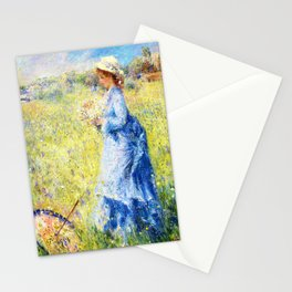 Pierre-Auguste Renoir - Woman Picking Flowers - Digital Remastered Edition Stationery Cards