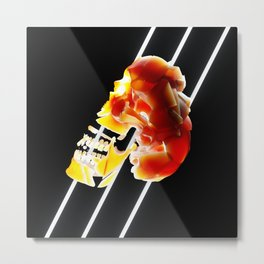 Abstract Orange Glowing Human Skull (Rock) Metal Print