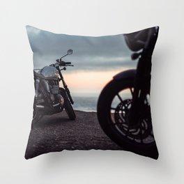 Moto sunset Throw Pillow
