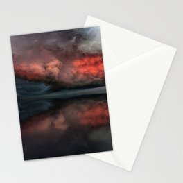 Red cloud reflect Stationery Cards