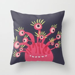 Funny Pink Monster With Eleven Eyes Throw Pillow