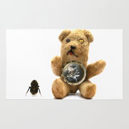 Tiny Mentalembellisher Vintage Teddy Bear with His Pet Bee & Some Fiddlebittery Rug