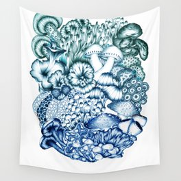 A Medley of Mushrooms in Blue Wall Tapestry