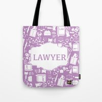 lawyer Tote Bags featuring purple lawyer  by Be Raza