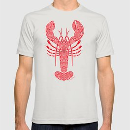 Tribal Maine Lobster on White T-shirt