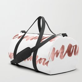 Amour French Love Script Rose Gold Typography Pattern Duffle Bag