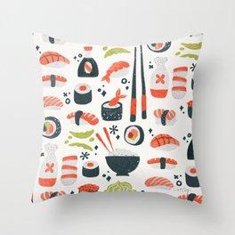 Sushi Dreams – White Throw Pillow