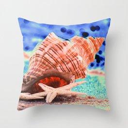 Big seashell by the sea Throw Pillow