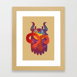 Silly Brown Yetti Framed Art Print