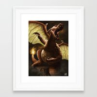 charizard Framed Art Prints featuring Charizard by Juan Hugo Martinez Illustrations