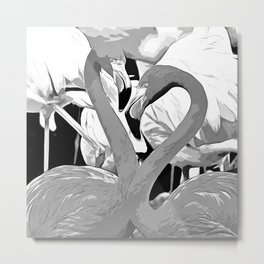 pink flamingo love couple vector art black white Metal Print