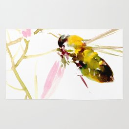 Bee and Pink Flowers Rug