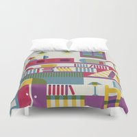 library Duvet Covers featuring Summertime's library by sansanfab