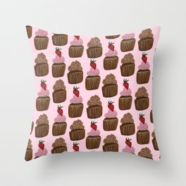 Chocolate Cupcakes on Pale Pink Throw Pillow