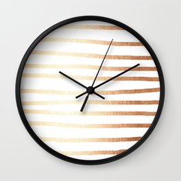 Simply Drawn Stripes Deep Bronze Amber Wall Clock