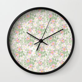Pink Dogroses on Taupe Wall Clock