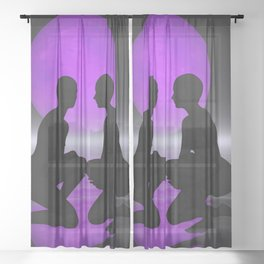 violet moon night Sheer Curtain