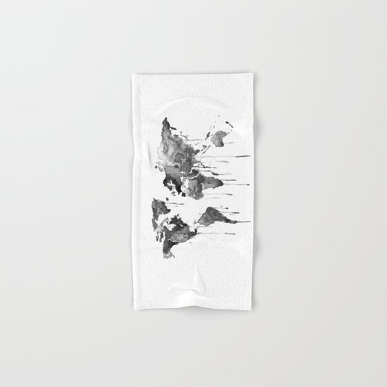 World map 2, black and white Hand & Bath Towel