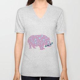 Hipster Hippo Unisex V-Neck