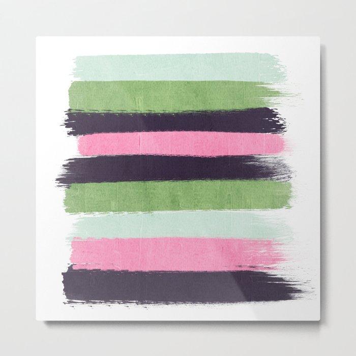 Stripes minimal striped pattern basic nursery gender neutral decor Metal Print