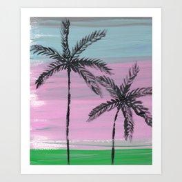 two palm trees sunset sky Art Print