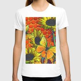 ORANGE-YELLOW BUTTERFLIES & SUNFLOWERS ARTISTIC HONEYCOMB DRAWING T-shirt