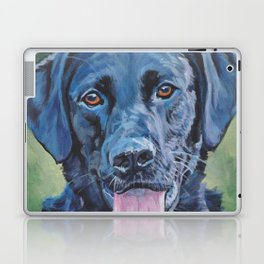 Black Lab LABRADOR RERIEVER dog portrait painting by L.A.Shepard fine art Laptop & iPad Skin