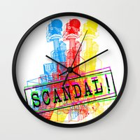 scandal Wall Clocks featuring Scandal Scandal Scandal by Genco Demirer