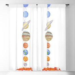 Solar System Watercolor Artwork Blackout Curtain