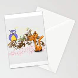 gufo e gatto 1 Stationery Cards