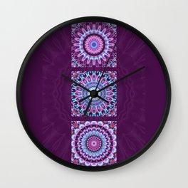 Mandala Collage violett Wall Clock
