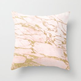 Blush pink abstract gold glitter marble Throw Pillow