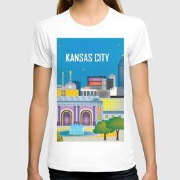 Kansas City, Missouri - Skyline Illustration by Loose Petals T-shirt