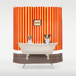 Bath Time For The Dogs Shower Curtain