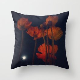Moon and moonflowers Throw Pillow