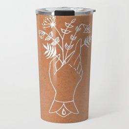 Victorian Hand Motif — Victorian Hand Holding Wildflower Bouquet — Antique Botanical Motif Travel Mug