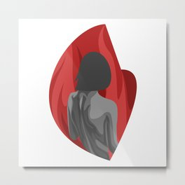 lonely heat - edgy red girl Metal Print
