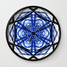Blue Abstract Mandala Rose Wall Clock