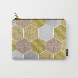 Gold honeycomb hexagons with marble and foil Carry-All Pouch