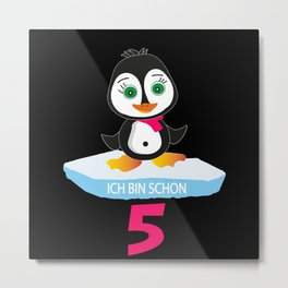 5 Year Old Birthday Girl Penguin Penguin Metal Print