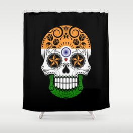 Sugar Skull with Roses and Flag of India Shower Curtain