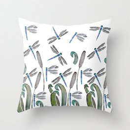 Dragonflies watercolor Throw Pillow