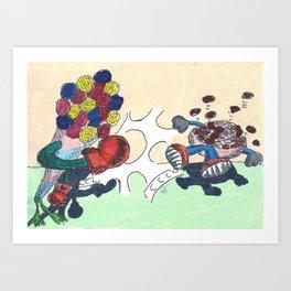 Flowers Versus Chocolate Art Print