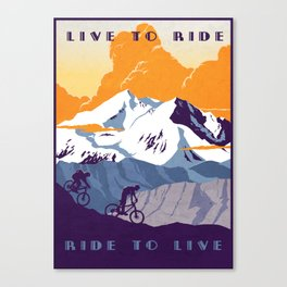 live to ride, ride to live retro cycling poster Canvas Print
