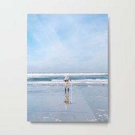 Socially Distanced Fisherman - Ocean Beach, San Francisco, California Metal Print
